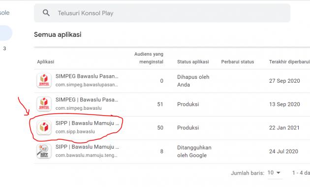 Dasbor Daftar Aplikasi untuk update Aplikasi di Google Play