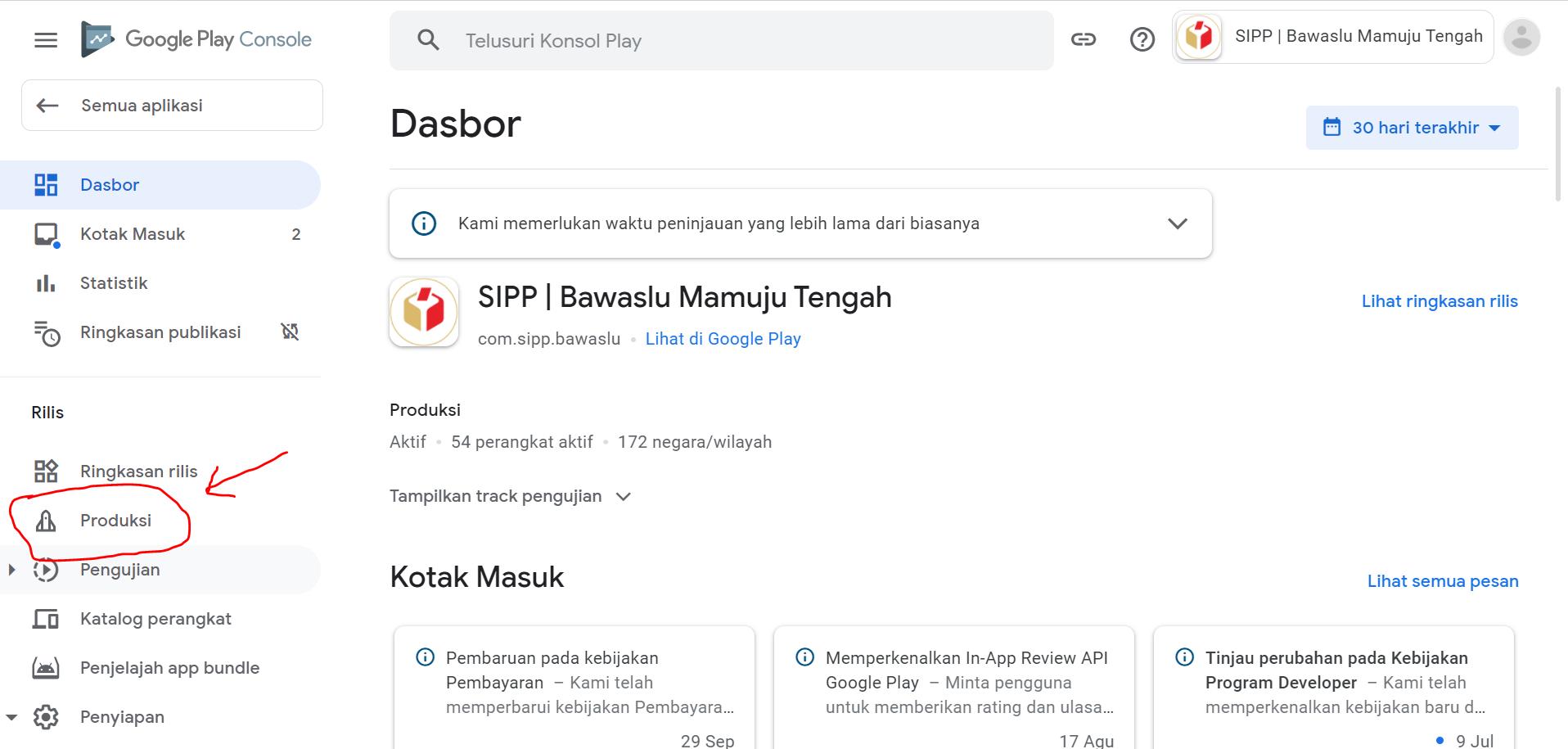 Klik menu produksi untuk update aplikasi di google play