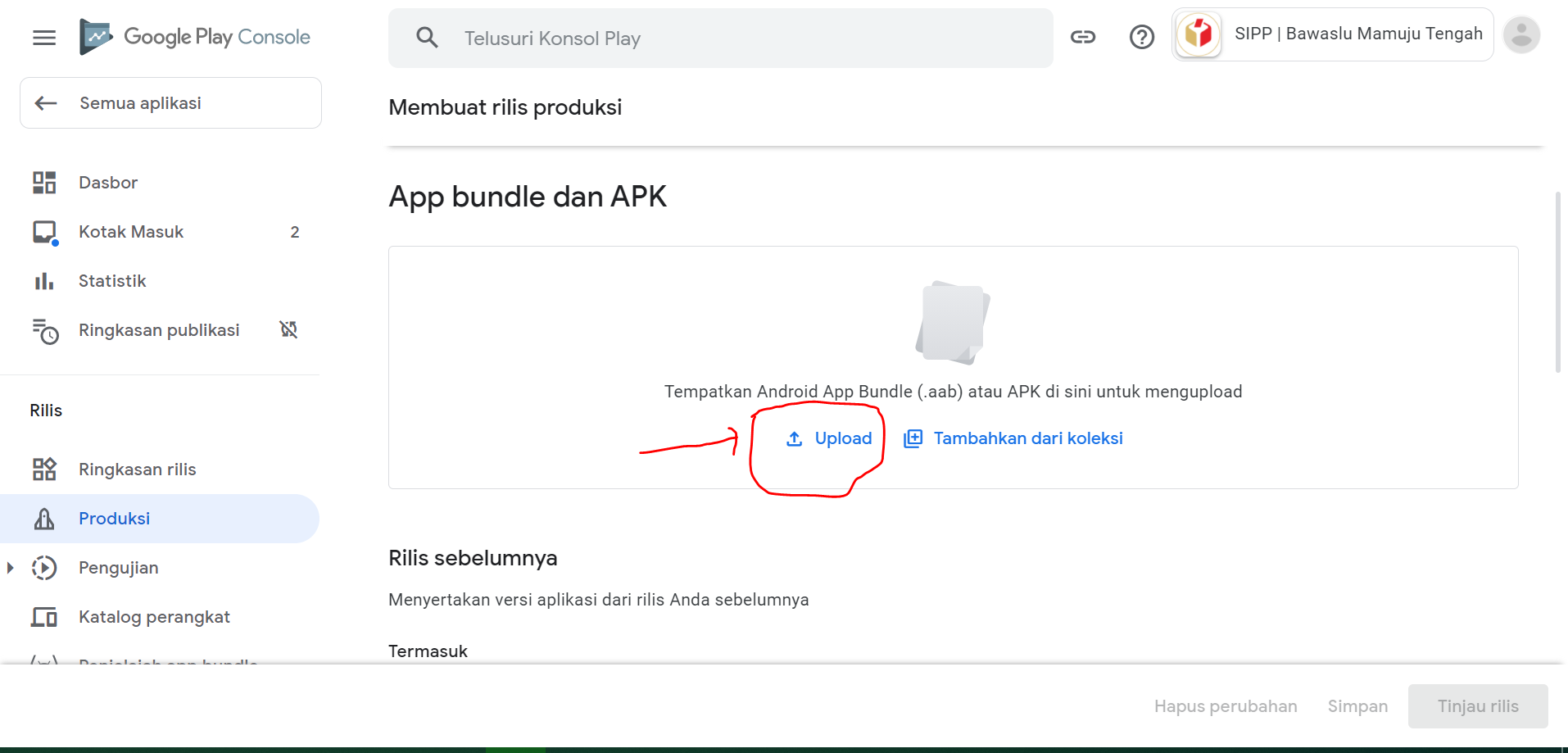 Klik upload aplikasi untuk update aplikasi di google play
