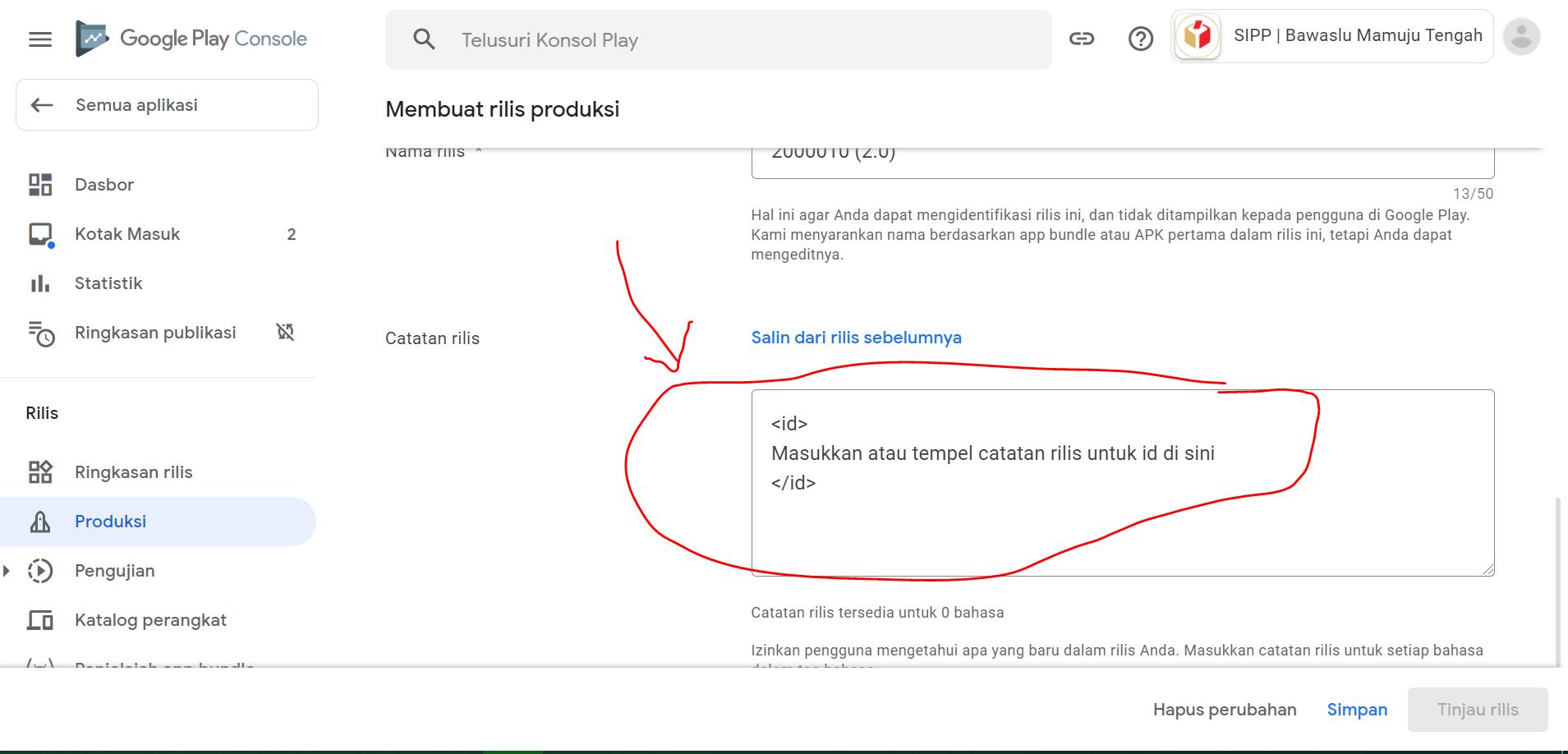 edit catatan rilis untuk update aplikasi di google play