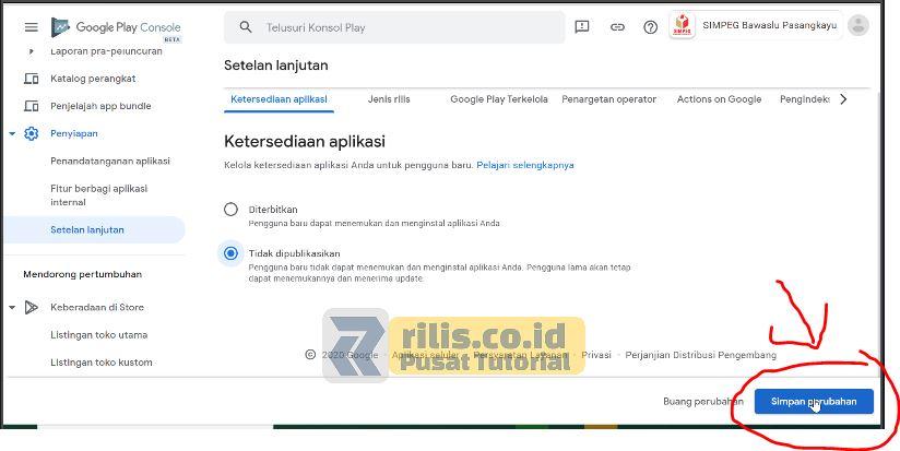 Klik Simpan Perubahan - Cara Hapus Aplikasi di Google Play Console Versi Terbaru